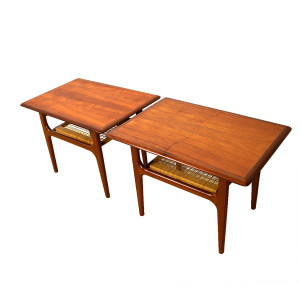 Pair of Danish Modern Teak Accent Tables with Cane Shelf