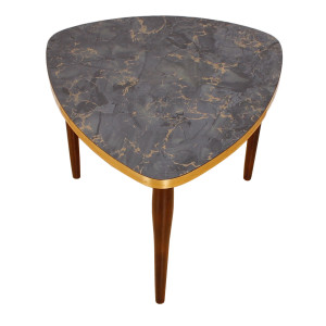 Triangular Brass Trimmed Accent Table