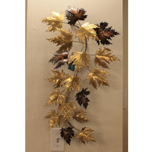 MCM Metal Autumn Leaf Wall Sculpture