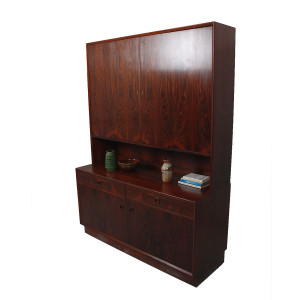 Tall Danish Modern Rosewood 2-Piece Storage / Bar Cabinet w/ Sexy Grain!