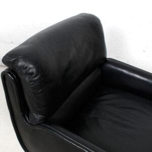 Leather & Brass Swivel Chair by DUNBAR