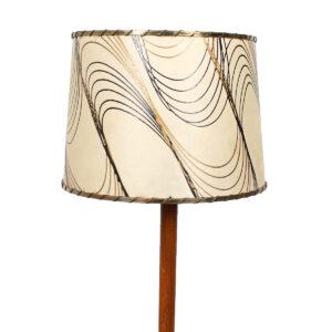 Mid Century Walnut Floor Lamp w/ Vintage Fiberglass Shade