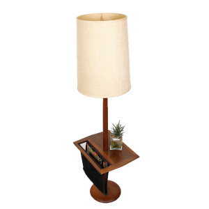 Modern mobler rare laurel mid century floor lamp w table magazine holder mozeypictures Images