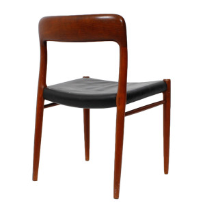 Set of 4 Leather Danish Teak Niels Moller #75 Dining Chairs