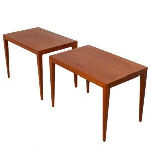 Pair of Slim & Sleek Danish Teak Accent Tables by Haslev, Denmark