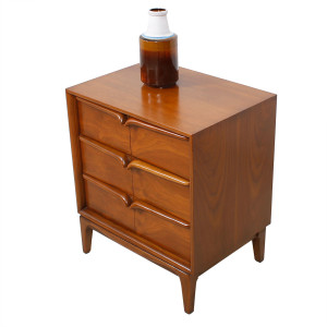 Walnut Mid Century Sculpted Pull Compact Night Stand