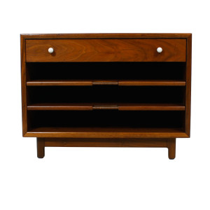 Walnut Magazine Table w / Sliding Shelves by Drexel