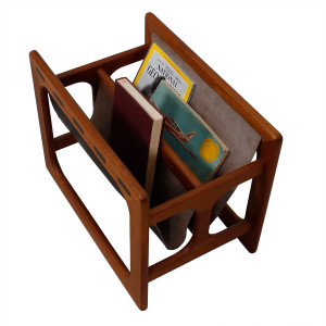 Danish Modern Teak & Leather Magazine Rack