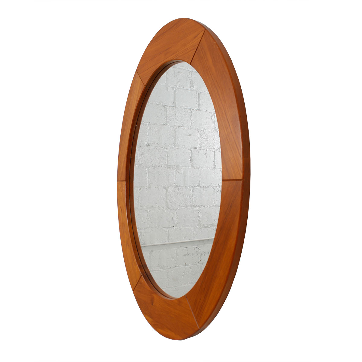 Large Oval Danish Modern Teak Mirror