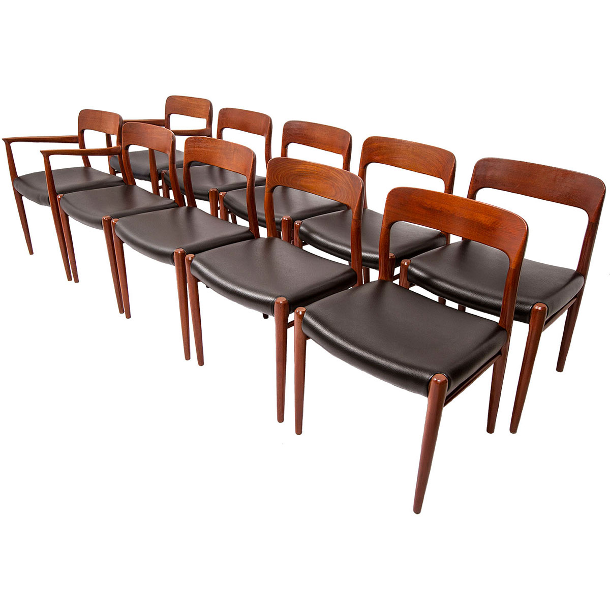 Set Of 10 (2 Arm + 8 Side) Niels O. Møller #56 U0026 #75 Teak Dining Chairs W/  New Upholstery