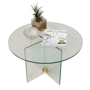 Pace Collection – Petite Round Glass & Brass Accent / End Table