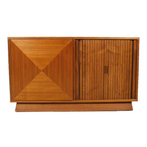 2-Piece Walnut Tambour Door Diamond Front Storage / Display Cabinet