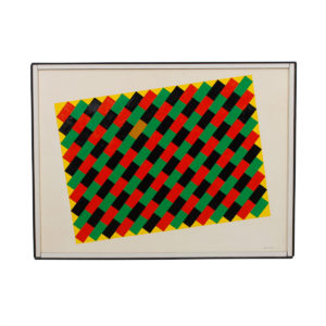 """Graphic """"Woven Paint"""" Orig Painting, Signed, 1969"""