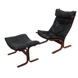 Westnofa Ingmar Relling Black Leather Tall Siesta Chair & Ottoman
