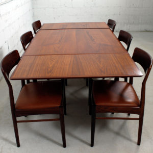 Danish Modern Teak Expanding Square-to-Rectangle Dining Table