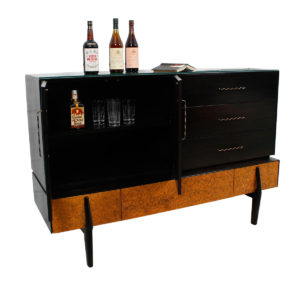 Brown Saltman Decorator Highboard / Bar Cabinet by John Keal