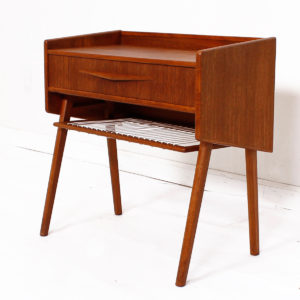 Randers Danish Teak Compact Nightstand / Accent Table with 'Pontiac' Pulls