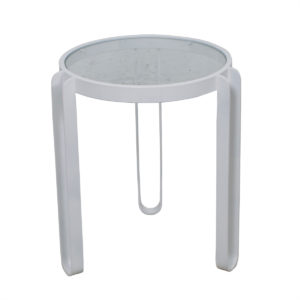 Round White Cast Iron Side Table w/ Glass Top