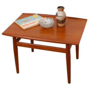 Grete Jalk Teak End – Accent Table with Raised Lip Top