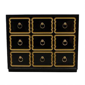 Dorothy Draper Black Lacquer 'España' Dresser / Chest by Heritage Henredon