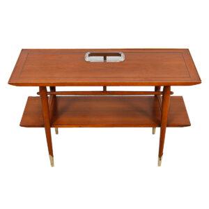 MCM Walnut Console Table w/ Shelf & Glass Insert