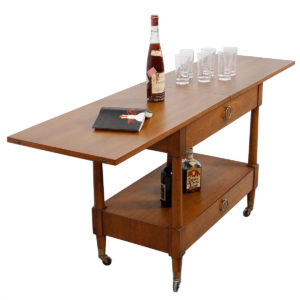 Heritage Henredon Expanding Walnut Flip-Top Bar / Serving Cart