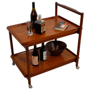 Solid Teak Danish Rolling Bar / Serving Cart with Removable Trays