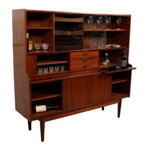 Rare Danish Teak Mult-Function Server / Bar Display Cabinet
