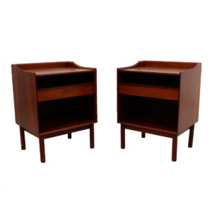Pair Solid Teak Nightstands / Accent Tables by Peter Hvidt