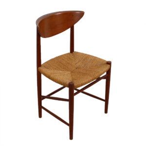 Set of 6 Peter Hvidt Teak Dining Chairs w / Danish Rope Seats