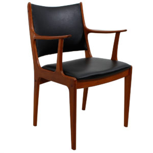 Reupholstered Pair of Danish Modern Teak Arm Chairs