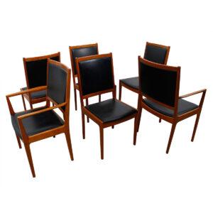 Kofod Larsen Set of 6 Tall & Wide Danish Teak Dining Chairs