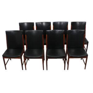 Kai Lyngfeldt Larsen for Søren Willadsen – Rare Set of 8 Rosewood & Black Leather Dining Chairs