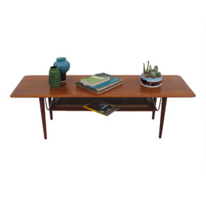 Solid Teak Peter Hvidt & Orla Molgaard Nielsen Coffee Table w/ Shelf