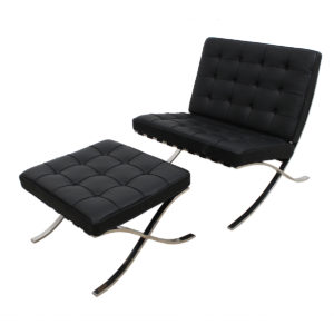 1960s Vintage Barcelona Chair + Ottoman Fully Refurbished by Knoll