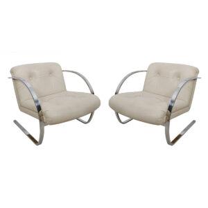 Brueton Leather & Chrome Lounge Chairs