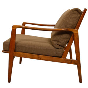 MCM Walnut Lounge Chair w/ Herringbone Pattern Upholstery