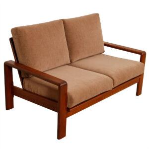 Vintage Teak Loveseat / Settee w/ NEW Fabric Upholstery