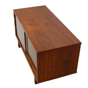 Petite Walnut Sliding Glass Door Media Cabinet