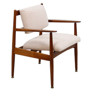 Newly Upholstered Walnut Mid Century Modern Arm Chair
