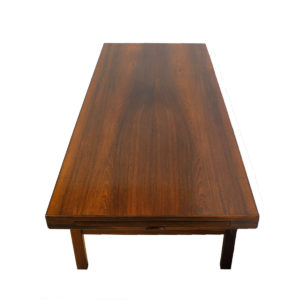 Large Danish Modern Rosewood Coffee Table w/ Expanding Shelf