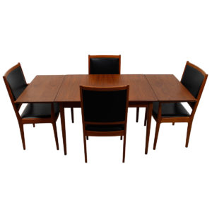 Super-Compact Danish Modern Teak Expanding Dining Table