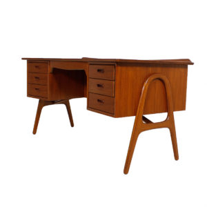 Sexy Teak Executive Desk by Svend Madsen with Hairpin Legs
