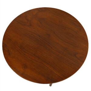 Elegant 27″ Walnut Occasional / Side Table with Rattan Shelf