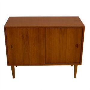 Petite Danish Modern Teak Media Storage Cabinet / Bar