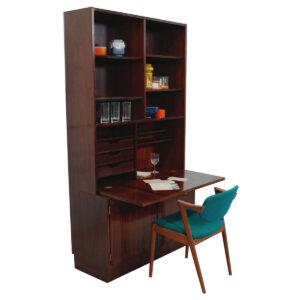 Compact 2-Piece Danish Rosewood (42.5″) Secretary / Display / Locking Cabinet