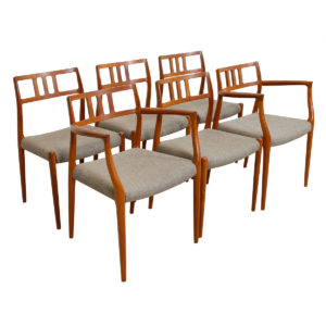 Set of 6 (2 Arm + 4 Side) Danish Teak (#64 & #79) Niels Moller Dining Chairs