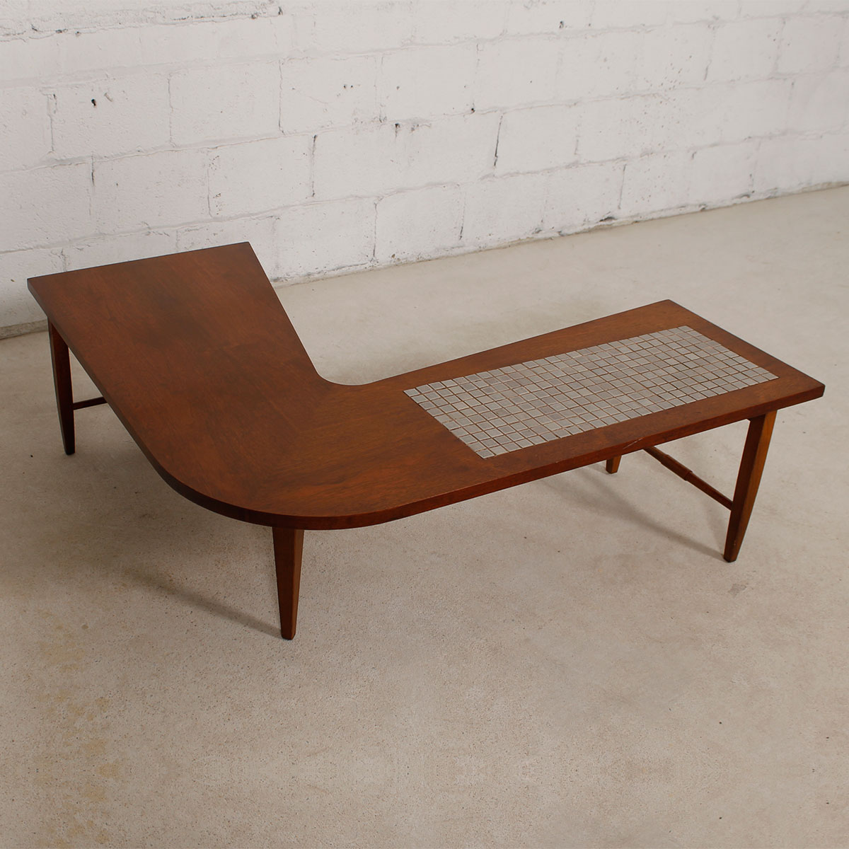 Modern mobler mid century modern walnut boomerang coffee table w tile insert geotapseo Choice Image