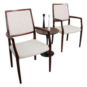 Pair Niels Møller Danish Modern Rosewood Arm Chairs