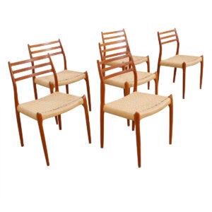 Set of 6 Danish Teak Niels Moller #78 Dining Chairs
